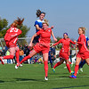 The Washington Spirit in red take on a preseason match against the Penn State women's soccer team in blue.   The Spirit won the match 3 to 0.