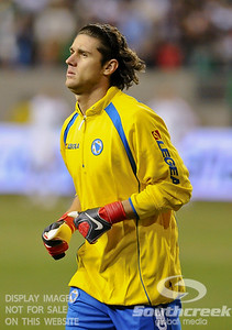 Bosnia-Herzegovina's Goalkeeper Kenan Hasagic (#1) warms up before Soccer action between Bosnia-Herzegovina and Mexico.  Mexico defeated Bosnia-Herzegovina 2-0 in the game at the Georgia Dome in Atlanta, GA.