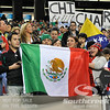Fans of Mexico proudly show the Mexican flag during Soccer action between Bosnia-Herzegovina and Mexico.  Mexico defeated Bosnia-Herzegovina 2-0 in the game at the Georgia Dome in Atlanta, GA.