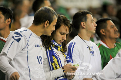 A fan texts during Soccer action between Bosnia-Herzegovina and Mexico.  Mexico defeated Bosnia-Herzegovina 2-0 in the game at the Georgia Dome in Atlanta, GA.