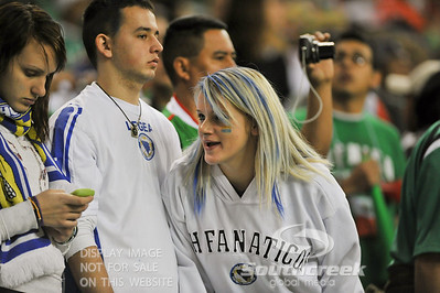 Fans converse during Soccer action between Bosnia-Herzegovina and Mexico.  Mexico defeated Bosnia-Herzegovina 2-0 in the game at the Georgia Dome in Atlanta, GA.