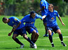 Brazil's national soccer players Mineiro, left, Wagner Love, center, and Elano, right, joke during a practice in Teresopolis, 100 Km from Rio de Janeiro, Brazil, Nov. 14, 2007. Brazil's team trains for its FIFA WC South Africa 2010 qualifier with Peru next 18 November. (Australfoto/Renzo Gostoli)