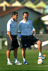 Jorginho, left, assistant coach and Brazilian national soccer team coach, Dunga, participate at a training session in Teresopolis, Brazil,  Oct. 12, 2007. Next Oct. 14 Brazil will face Colombia in a World Cup 2010 qualifying match in Bogota.   (FOTO:RENZO GOSTOLI/AUSTRAL FOTO)