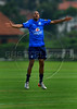 Brazil' striker Robinho jumps during a practice in Teresopolis, 100 Km from Rio de Janeiro, Brazil, Nov. 14, 2007. Brazil's team trains for its FIFA WC South Africa 2010 qualifier with Peru next 18 November. (Australfoto/Renzo Gostoli)