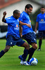 Brazil's soccer player Mineiro, left, fights for the ball with teammate Daniel Alves, right, during a practice in Teresopolis, 100 Km from Rio de Janeiro, Brazil, Nov. 14, 2007. Brazil's team trains for its FIFA WC South Africa 2010 qualifier with Peru next 18 November. (Australfoto/Renzo Gostoli)