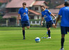 Brazil's soccer star Kaka, left, who plays for Milan of Italy, train with Diego, right during a practice in Teresopolis, 100 Km from Rio de Janeiro, Brazil, Nov. 14, 2007. Brazil's team trains for its FIFA WC South Africa 2010 qualifier with Peru next 18 November.( Austral Foto/Renzo Gostoli)
