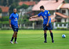 Brazil's soccer star Kaka, right, who plays for Milan of Italy, train with Robinho, left, during a practice in Teresopolis, 100 Km from Rio de Janeiro, Brazil, Nov. 14, 2007. Brazil's team trains for its FIFA WC South Africa 2010 qualifier with Peru next 18 November.( Austral Foto/Renzo Gostoli)