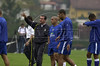 Brazilian soccer coach Carlos Alberto Parreira, left, talks with players Roberto Carlos, center, and Adriano, right, during training in Teresopolis for the World Cup qualifier match against Bolivia,Rio de Janeiro, Brazil, September 02, 2004. (Austral Foto/Renzo Gostoli)