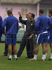 Brazilian soccer coach Carlos Alberto Parreira, left, talks with brazilian players during training in Teresopolis for the World Cup qualifier match against Bolivia,Rio de Janeiro, Brazil, September 02, 2004. (Austral Foto/Renzo Gostoli)