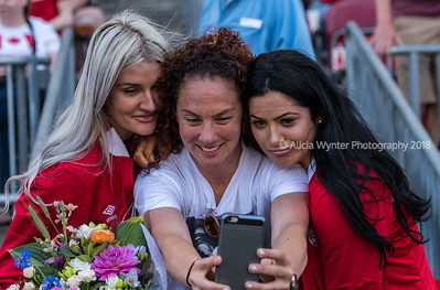Toronto, Ontario (June 11, 2017) -  A friend takes a selfie with two of Canada's retired women's soccer player during the friendly match for Canada's 150th birthday against Costa Rica.  Canada later beat Costa Rica 6-0.  Photo by Alicia Wynter