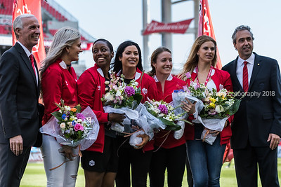 Toronto, Ontario (June 11, 2017) - Canada Women's National Team retirees at the BMO Field in Toronto, Ont.   Photo by Alicia Wynter
