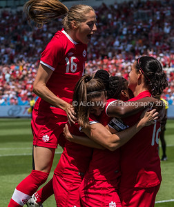 Toronto, Ontario (June 11, 2017) - Canada Women's National Team celebrates a goal against Costa Rica during their Canada's 150th birthday friendly match at the BMO Field in Toronto, Ont.  Canada 6 - Costa Rica 0  Photo by Alicia Wynter