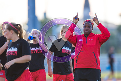 Danesha Adams telling them to turn up the music during pregame warm up Women's Soccer University of Houston vs Southern Miss @ Carl Lewis Stadium September 8, 2017. Houston, TX USA