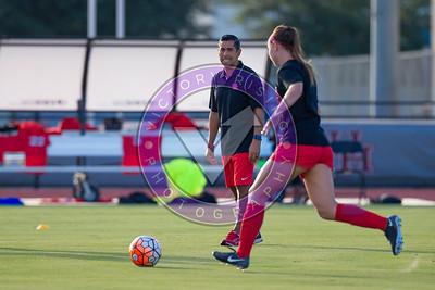 Head coach Diego Bocanegra get the ladies warmed up Women's Soccer University of Houston vs Southern Miss @ Carl Lewis Stadium September 8, 2017. Houston, TX USA