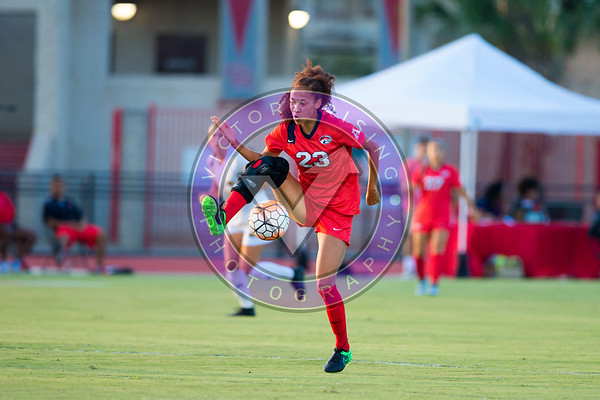 Selena Peters #23 M/F collecting a difficult ball out of the air during the first half Women's Soccer University of Houston vs Southern Miss @ Carl Lewis Stadium September 8, 2017. Houston, TX USA