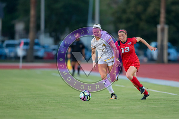Katie Richmond #2 D/M and Madison Soileau #13 F/M side by side Women's Soccer University of Houston vs Southern Miss @ Carl Lewis Stadium September 8, 2017. Houston, TX USA