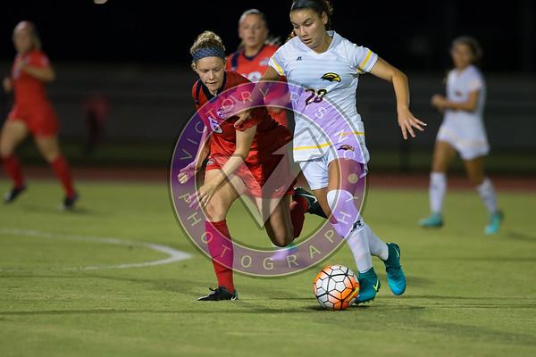 Miah Zuazua #20 M shielding the ball away form Kelsey Thein #6 D Women's Soccer University of Houston vs Southern Miss @ Carl Lewis Stadium September 8, 2017. Houston, TX USA