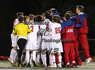 November 1, 2013;  Rochester, NY; USA; Sectional Class AA Boys Soccer Championship: Fairport Red Raiders vs. Churchville-Chili Saints at Eastridge H.S.  Photo: Christopher Cecere