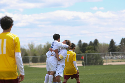 Gering's James Guzman celebrates his goal in the first half to tie the score 1-1 in the match against Laramie, Wyo., on Saturday at the Landers Soccer Complex.