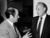 FIFA's president, the Brazilian Joao Havelange, right, talks with swiss Joseph Blatter, FIFA's general secretary, during an event preparatory to Mexico 1986 World Cup, Mexico DF, Mexico, February 24, 1985. (Austral Foto/Renzo Gostoli)