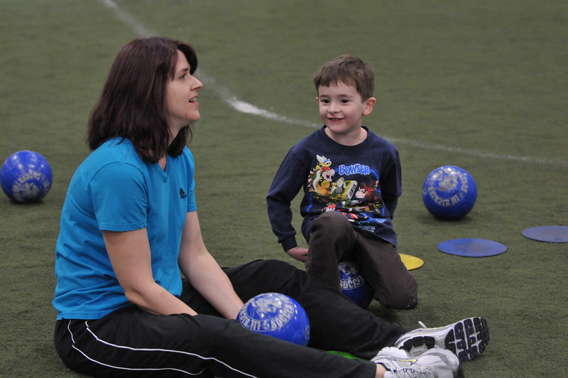 That was funny when you tried to kick the ball.   I mean, you are doing really good Mom.