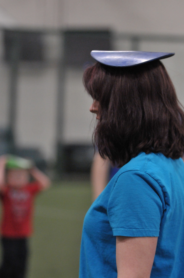 Colleen really excelled at walking around with the rubber disk on her head.  She really made us proud.