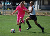Katy B fights for the ball