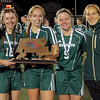 From left, Nashoba captains Katherine Piccioli, Jacquelyn Harnett, Danielle Scafidi and Caitlyn Curtis, along with head coach Renee Moulton, pose with the runner-up trophy after falling to Central Catholic, 2-0, in the Division 1 girls' soccer state championship at Manning Field in Lynn on Saturday, Nov. 19, 2016. SENTINEL & ENTERPRISE / BOB ROCHE