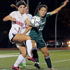 Central Catholic's Brooke Hernon and Nashoba's Taylor Rodriguez battle along the sideline.