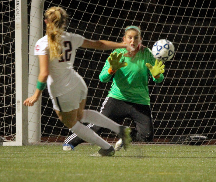 Nashoba goalkeeper Theresa Don doesn't have much chance on a shot by Elayna Grillakis for a Central Catholic goal.