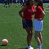 Hannah & Teagan confer before kickoff