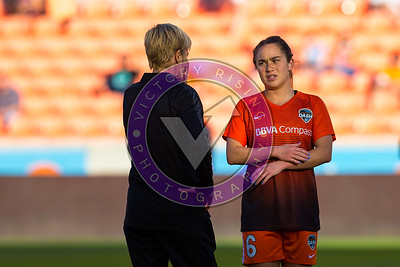Meleana Shim #6 F pregame talk with head coach Vera Pauw Houston Dash vs Utah Royals  Friday March 30, 2018 at BBVA Compass Stadium