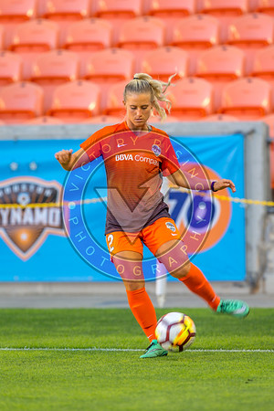Michaela Hahn #2 MF warming up for the game. Houston Dash vs Utah Royals  Friday March 30, 2018 at BBVA Compass Stadium