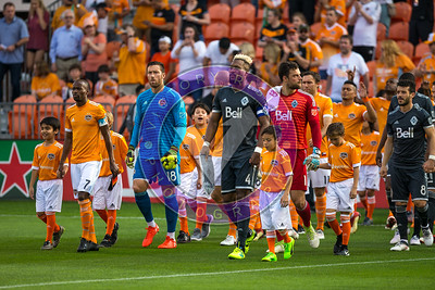Chris Seitz #18 GK Kendall Waston #4 DF leading the way on the walkout pregame. Houston Dynamo 1- 2 Vancouver Whitecaps March 10, 2018 at BBVA Compass Stadium 5pm kick off