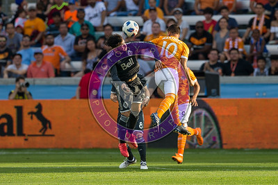 Tomas Martinez #10 MF challenging for airball Houston Dynamo 1- 2 Vancouver Whitecaps March 10, 2018 at BBVA Compass Stadium 5pm kick off
