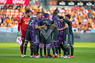 Vancouver Whitecaps last minute pep-talk  before the game starts Houston Dynamo 1- 2 Vancouver Whitecaps March 10, 2018 at BBVA Compass Stadium 5pm kick off