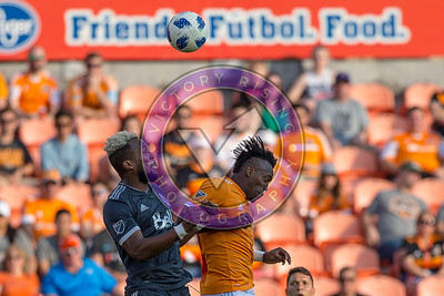 Sean Franklin #3 DF and Alberth Ellis #17 FW going up for a heading during the first half Houston Dynamo 1- 2 Vancouver Whitecaps March 10, 2018 at BBVA Compass Stadium 5pm kick off