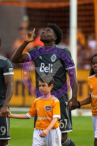 Pregame walk out Alphonso Davies #67 MF giving thanks before the game. Houston Dynamo 1- 2 Vancouver Whitecaps March 10, 2018 at BBVA Compass Stadium 5pm kick off