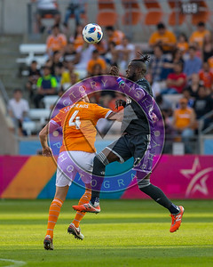Kei Kamara #23 FW and Philippe Senderos #4 DF battling out in the midfield Houston Dynamo 1- 2 Vancouver Whitecaps March 10, 2018 at BBVA Compass Stadium 5pm kick off