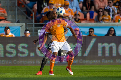 Adolfo Machado #3 DF controlling the ball out of the air Houston Dynamo 1- 2 Vancouver Whitecaps March 10, 2018 at BBVA Compass Stadium 5pm kick off
