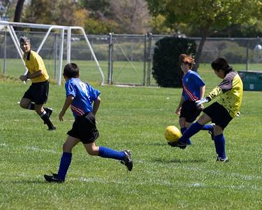 Shintaro kicks out of the goal