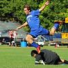 St. Bernard's boys soccer played Lunenburg High School boys soccer on Monday at St. Bernard's. Lunenburg player Matt McLeod-Watwich leaps over ST. B's goalie Nathan Alsdorf. SENTINEL & ENTERPRISE/JOHN LOVE