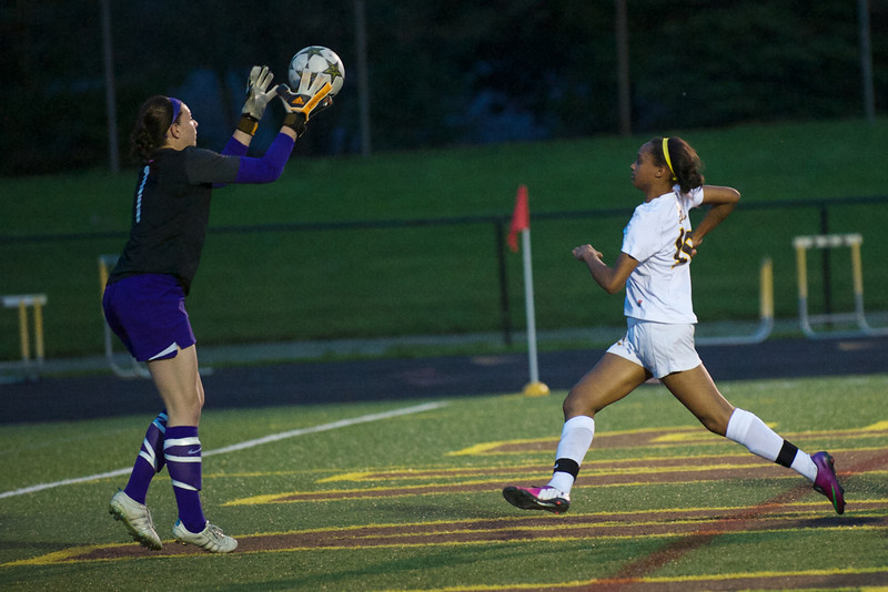 Senior Stephanie Heber (keeper) and Sophomore Ryenn McAdory.  Rochester HS versus Rochester Adams HS - May 9, 2013