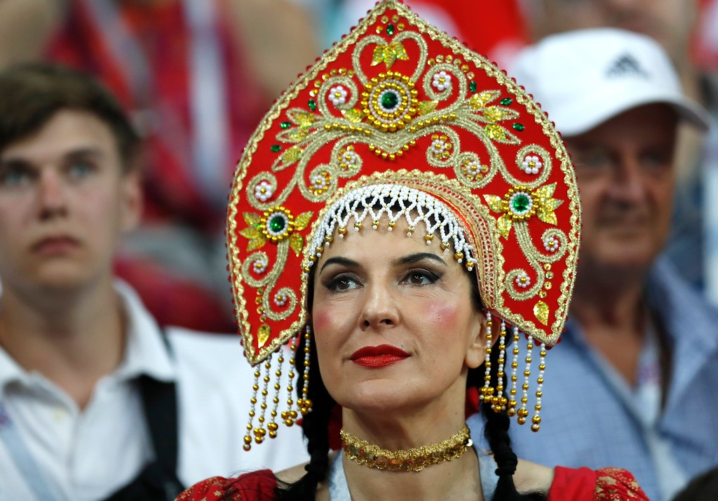 . A Russian fan looks on prior the quarterfinal match between Russia and Croatia at the 2018 soccer World Cup in the Fisht Stadium, in Sochi, Russia, Saturday, July 7, 2018. (AP Photo/Pavel Golovkin)
