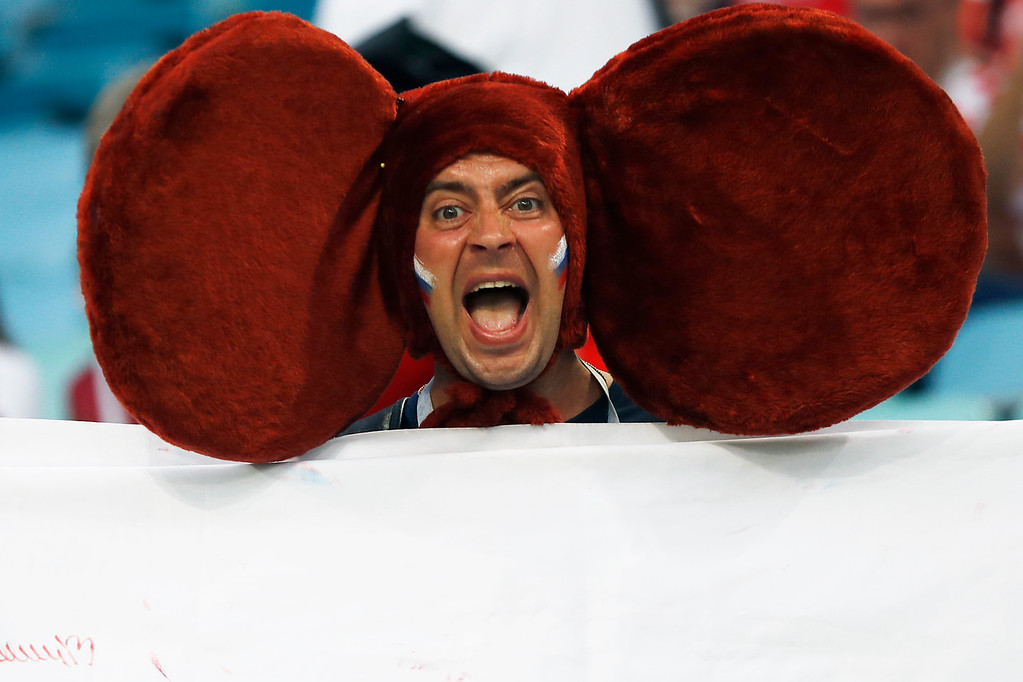 . A Russian fan shouts prior the quarterfinal match between Russia and Croatia at the 2018 soccer World Cup in the Fisht Stadium, in Sochi, Russia, Saturday, July 7, 2018. (AP Photo/Darko Bandic)