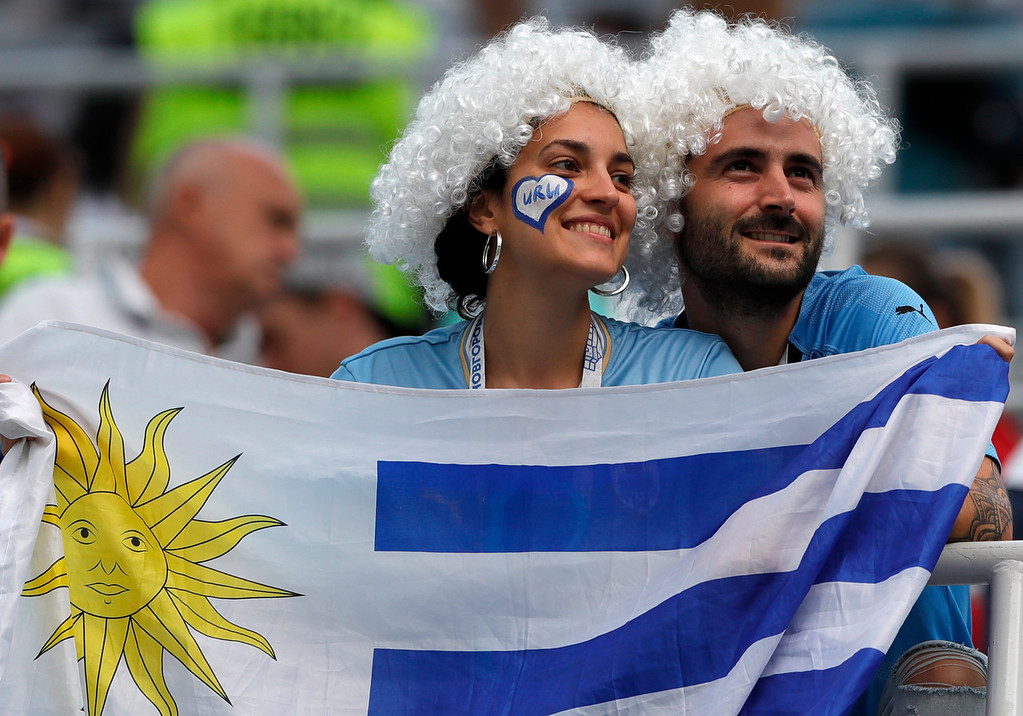 . Uruguay fans support their team ahead of the quarterfinal match between Uruguay and France at the 2018 soccer World Cup in the Nizhny Novgorod Stadium, in Nizhny Novgorod, Russia, Friday, July 6, 2018. (AP Photo/Ricardo Mazalan)