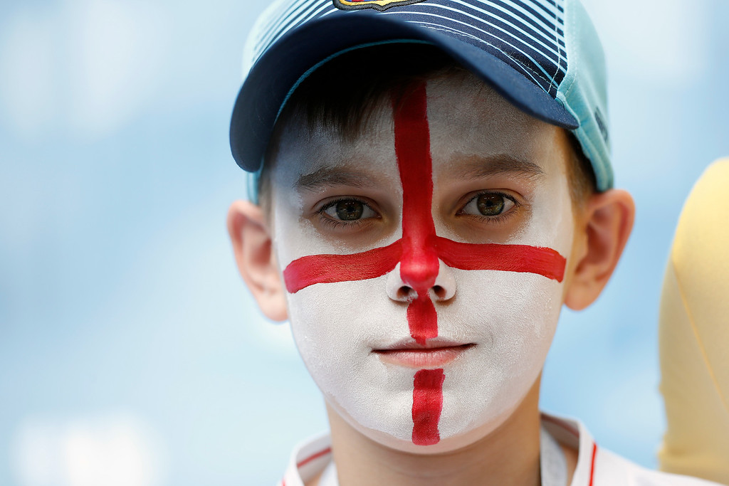 . English football fan with face painted in national flag shows his support prior the quarterfinal match between Sweden and England at the 2018 soccer World Cup in the Samara Arena, in Samara, Russia, Saturday, July 7, 2018. (AP Photo/Francisco Seco)