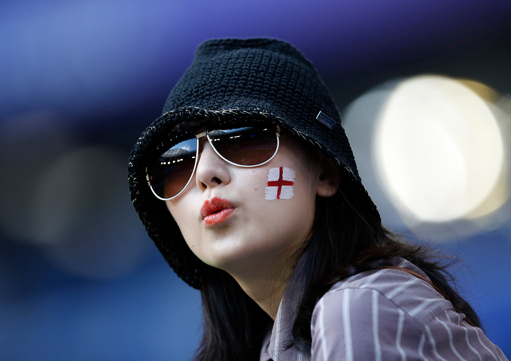 . England\'s football fan in the stands before the start of the quarterfinal match between Sweden and England at the 2018 soccer World Cup in the Samara Arena, in Samara, Russia, Saturday, July 7, 2018. (AP Photo/Francisco Seco)