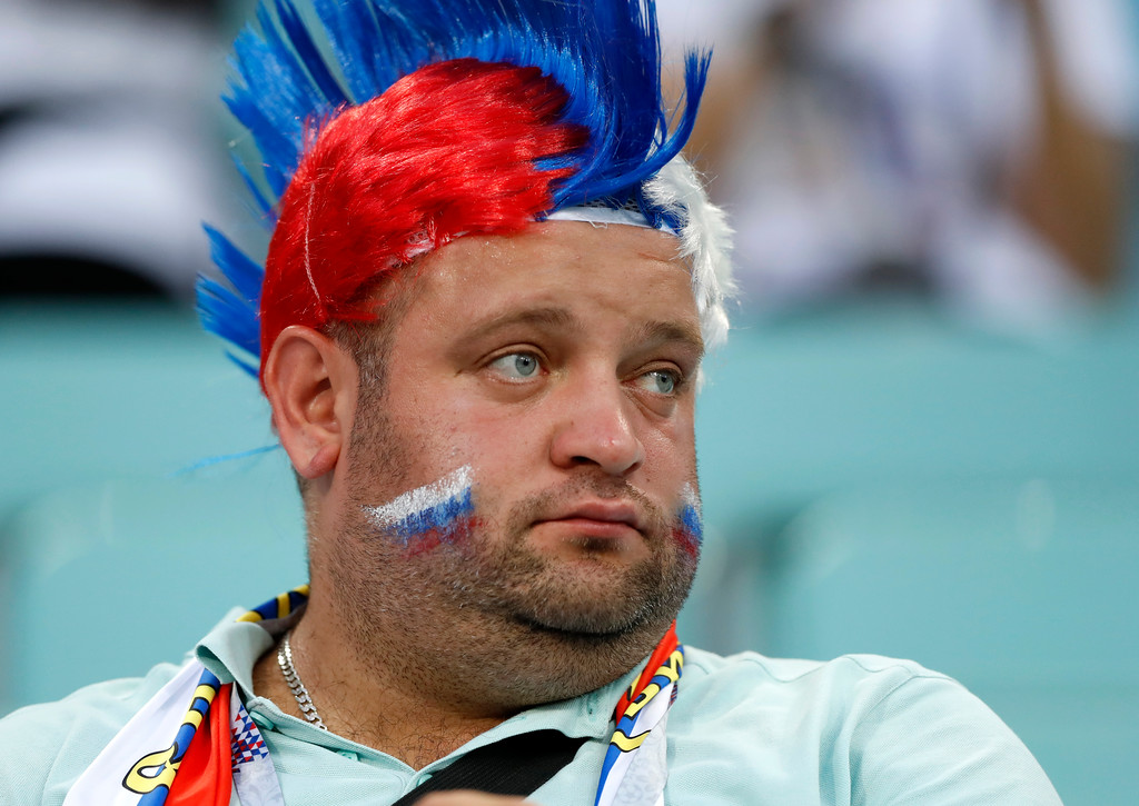 . A Russian fan looks on prior the quarterfinal match between Russia and Croatia at the 2018 soccer World Cup in the Fisht Stadium, in Sochi, Russia, Saturday, July 7, 2018. (AP Photo/Darko Bandic)