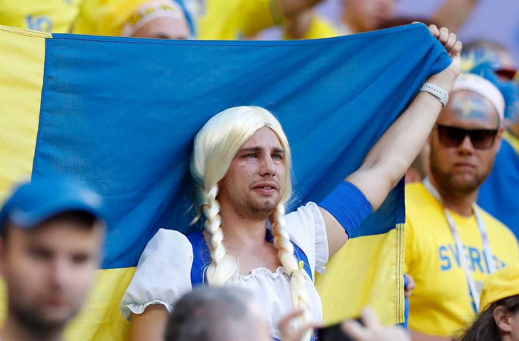 . Sweden fans reacts at the end of the quarterfinal match between Sweden and England at the 2018 soccer World Cup in the Samara Arena, in Samara, Russia, Saturday, July 7, 2018. England won 2-0. (AP Photo/Alastair Grant)